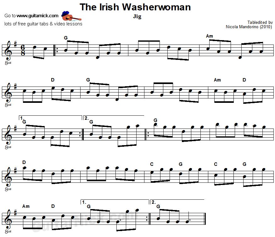 The Irish Washerwoman Tin Whistle Sheet Music
