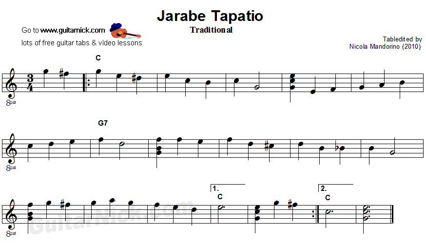 Jarabe Tapatio - easy guitar sheet music