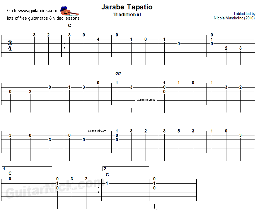 Jarabe Tapatio - easy guitar tablature