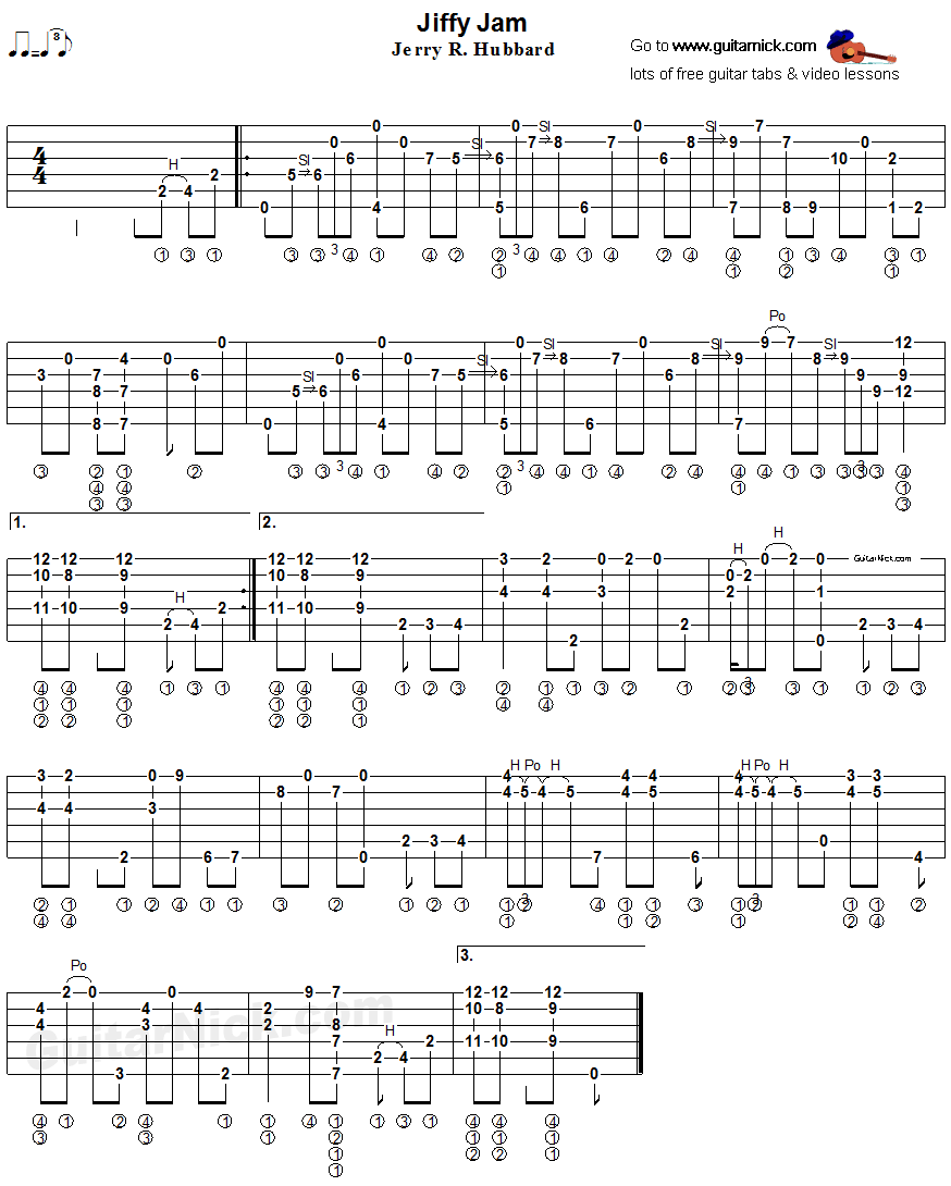 Jiffy Jam - fingerstyle guitar tab