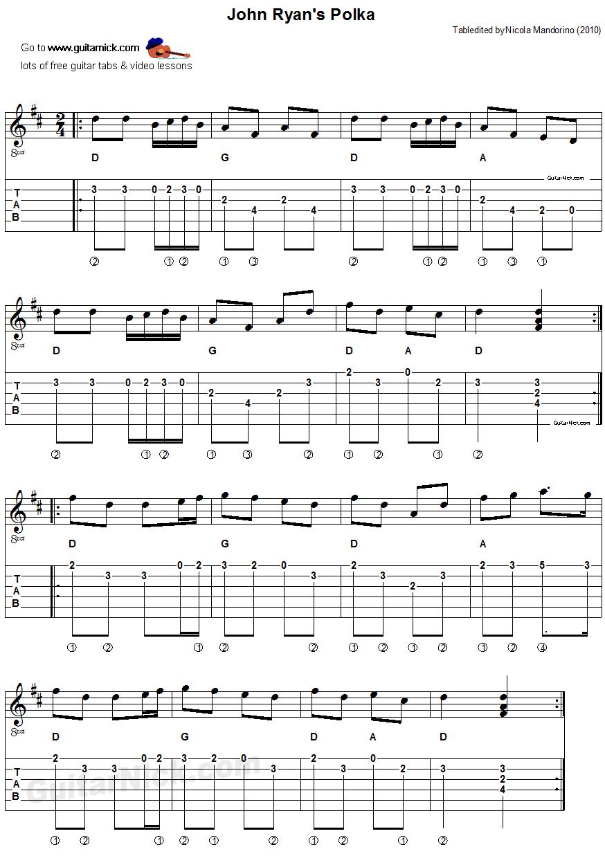 John Ryanu0026#39;s Polka: sheet music + guitar TAB - GuitarNick.com