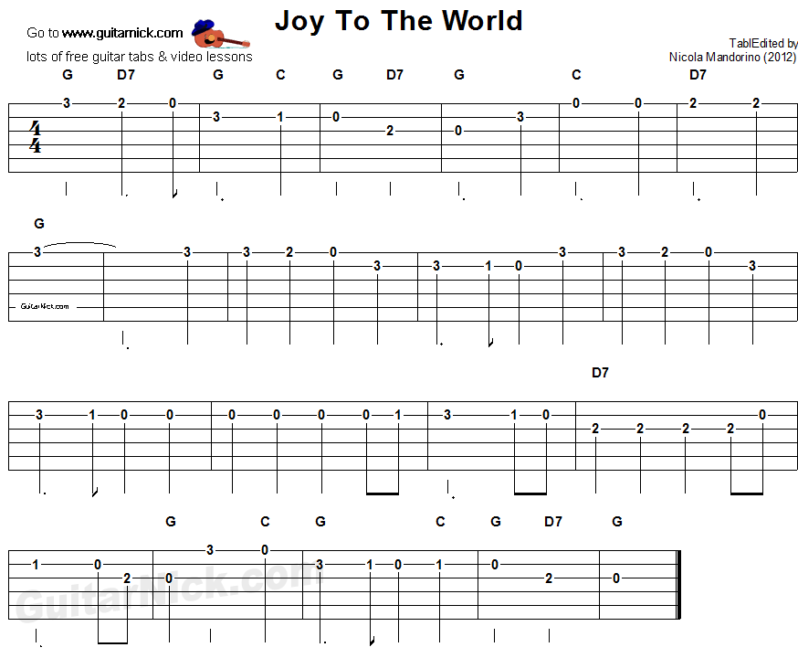 JOY TO THE WORLD Easy Guitar Lesson: GuitarNick.com