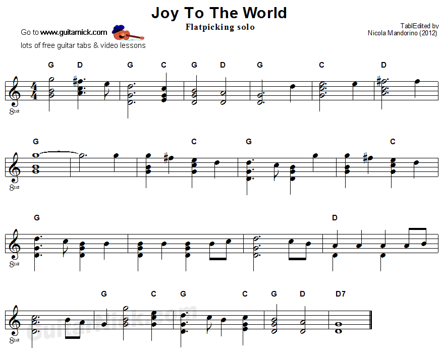 Joy To The World - flatpicking guitar sheet music