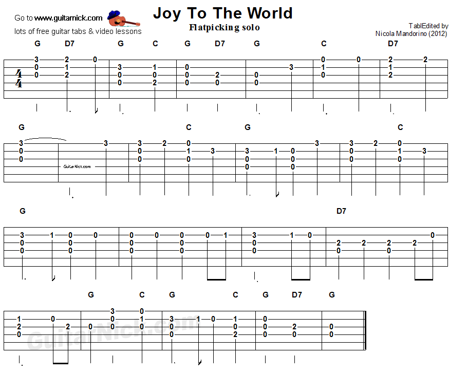 Joy To The World - flatpicking guitar tablature
