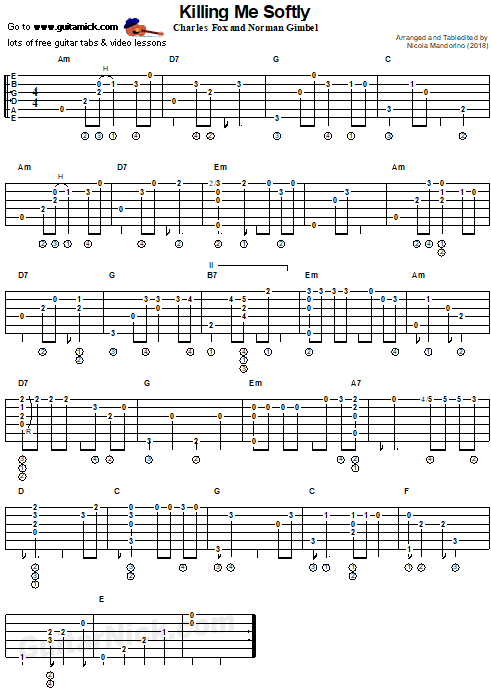 Killing Me Softly - fingerstyle guitar tab
