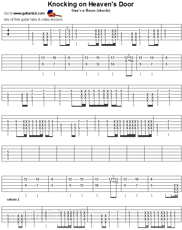 Knocking On Heaven's Door - guitar chords tab 1