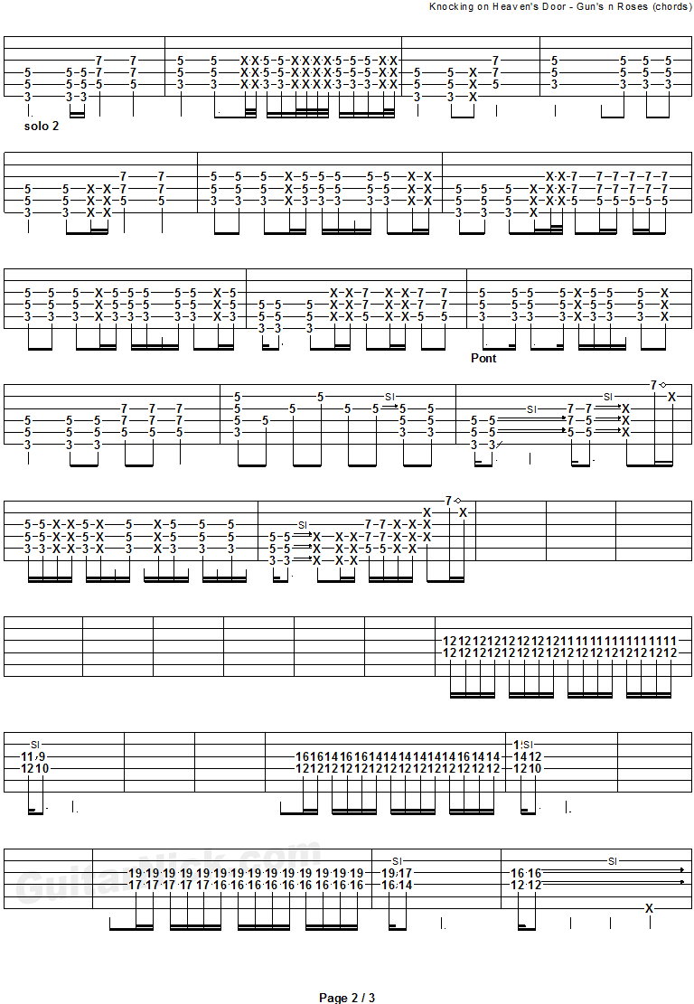 Knocking On Heaven's Door - guitar chords tab 2
