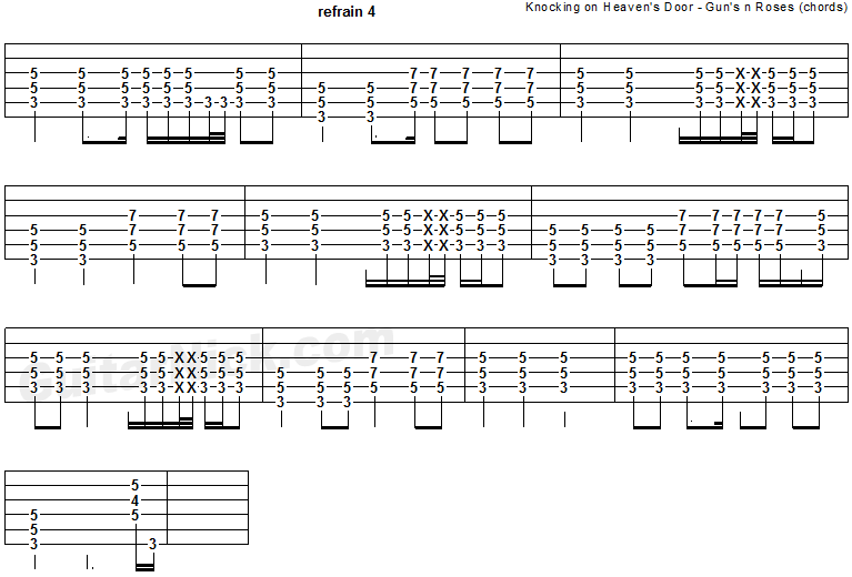 Knocking On Heaven's Door - guitar chords tab 3