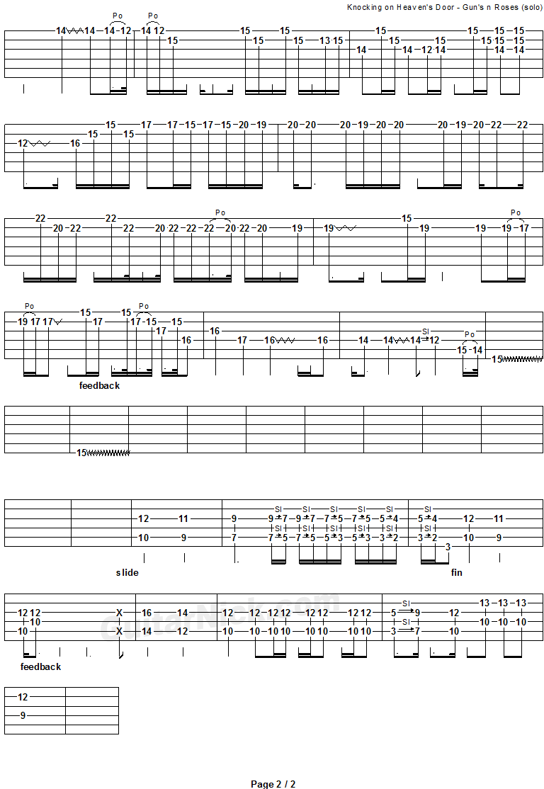 Knocking On Heaven's Door - guitar solo tab 2