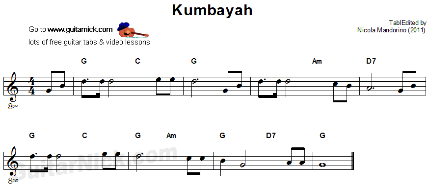 Kumbayah - easy guitar sheet music