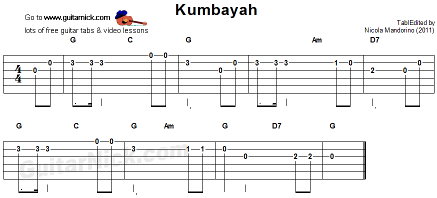 Kumbayah - easy guitar tablature