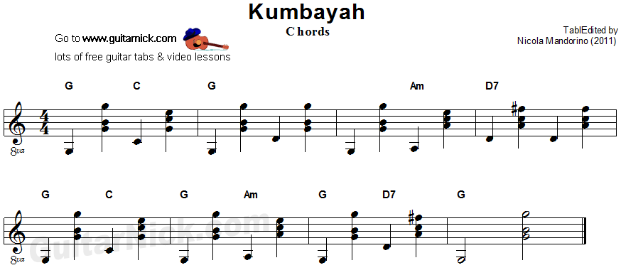 Kumbayah - guitar chords sheet music