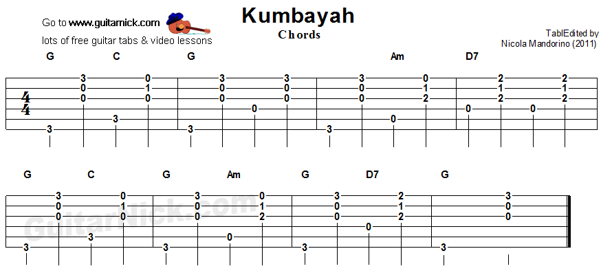 Kumbayah - guitar chords tablature