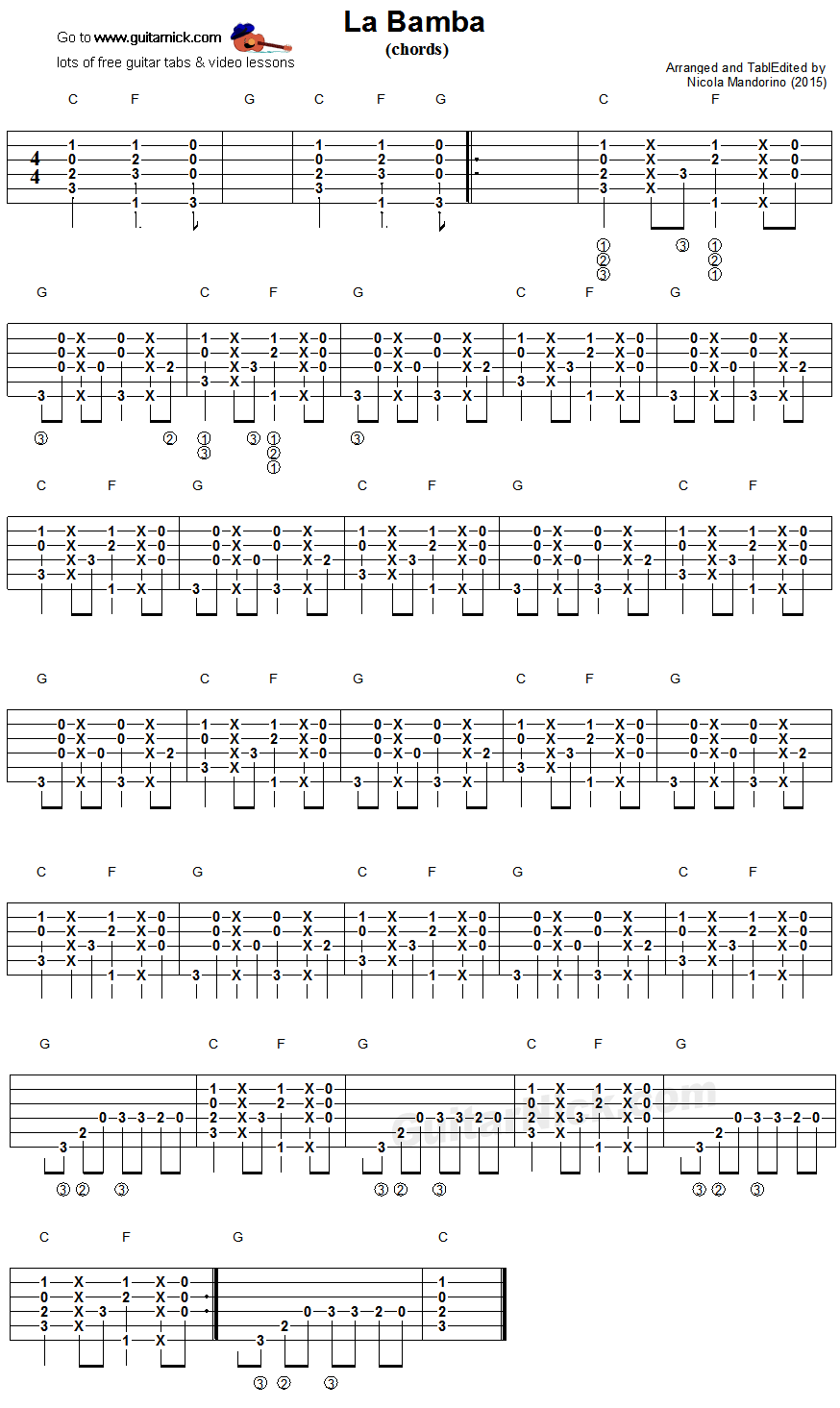 LA BAMBA Easy Guitar Lesson: GuitarNick.com