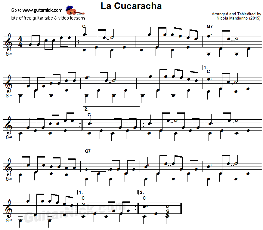 La Cucaracha - fingerpicking guitar sheet music