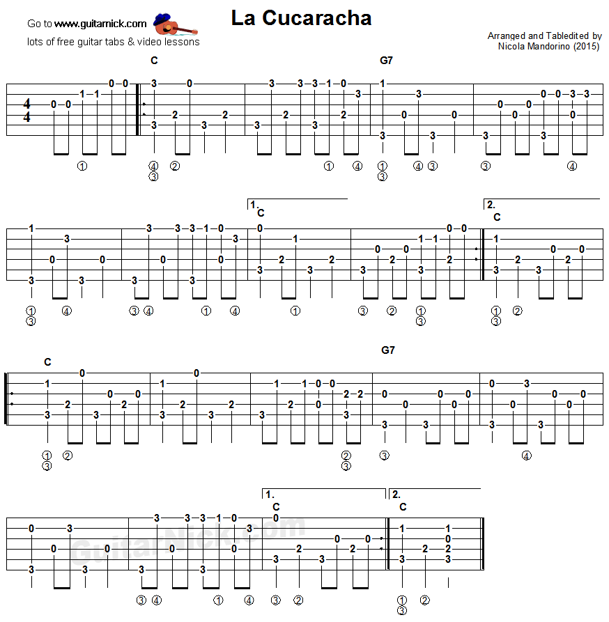 La Cucaracha - fingerpicking guitar tablature