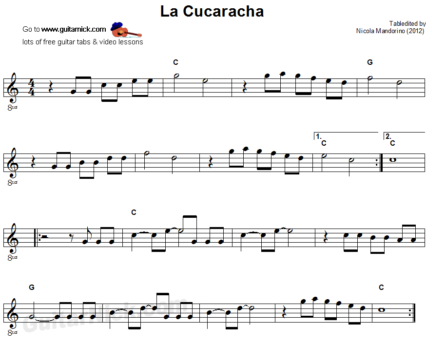 La Cucaracha - easy guitar sheet music