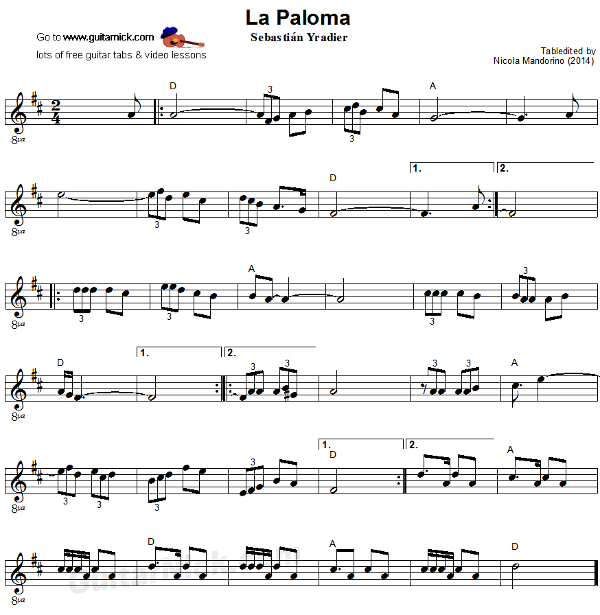 La Paloma - easy guitar sheet music
