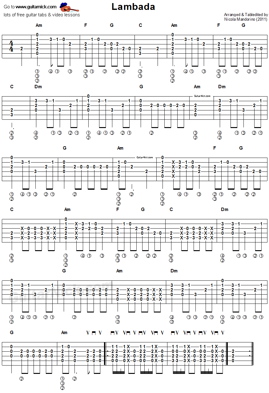 Lambada - flatpicking guitar tablature