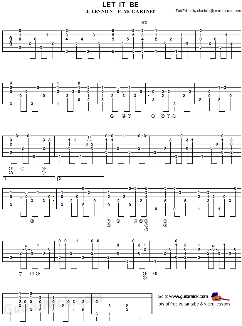 Let It Be -  thumbpicking guitar tablature