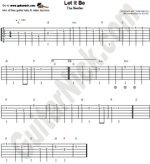 Let It Be - easy guitar tablature