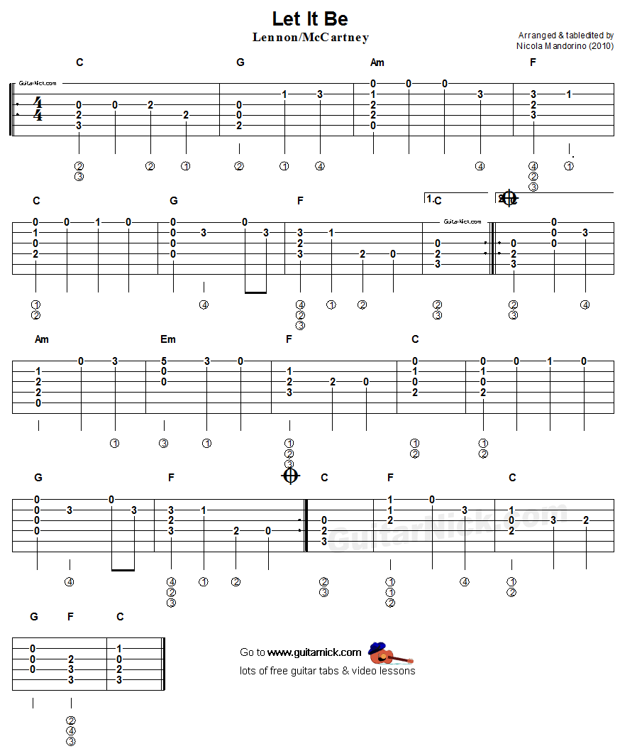 Let It Be: flatpicking guitar tablature