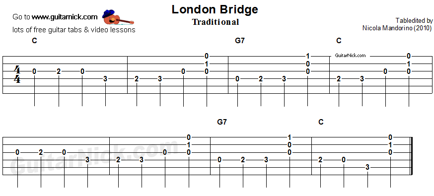 London Bridge - easy guitar tablature 2