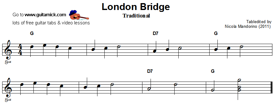 London Bridge - easy guitar sheet music