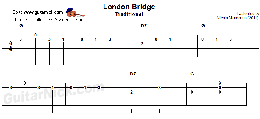 Guitar guitar tabs easy : LONDON BRIDGE Easy Guitar Lesson: GuitarNick.com