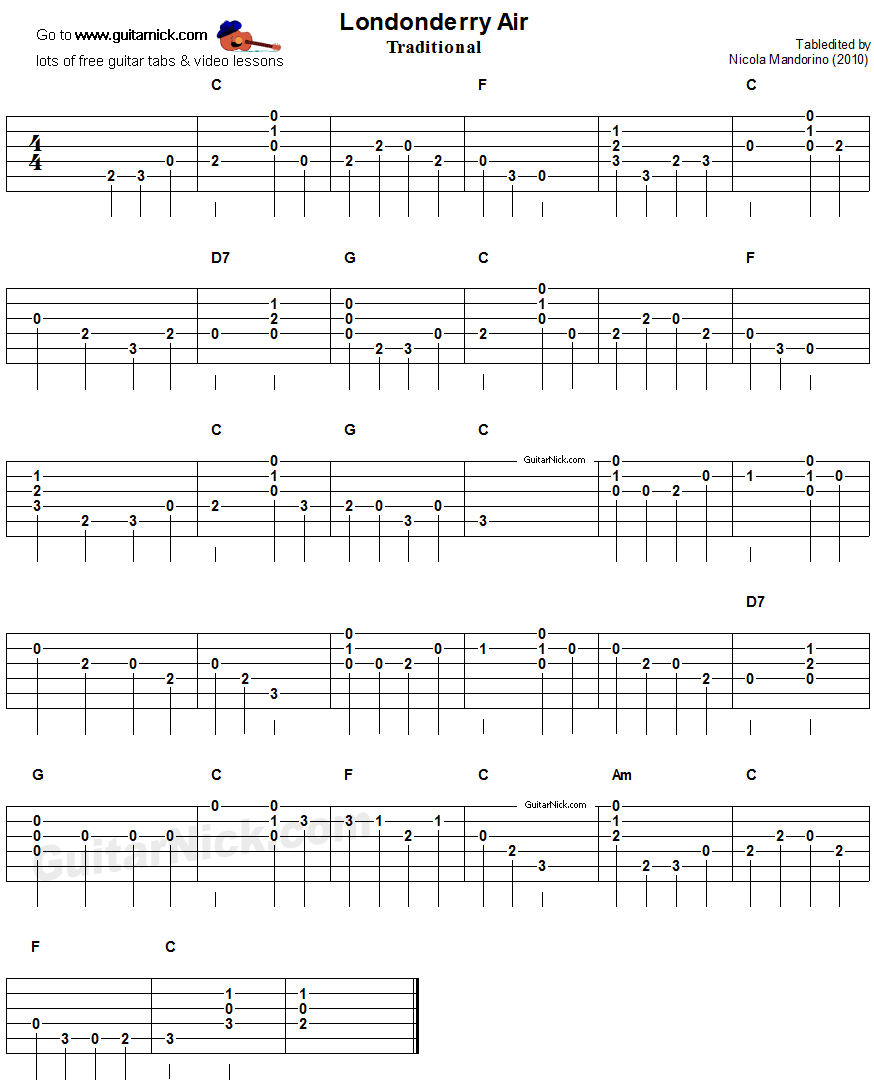Londonderry Air - easy guitar tablature