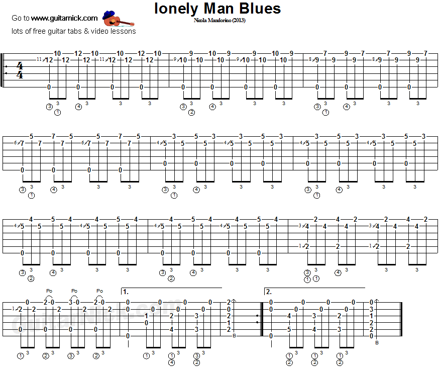 Lonely Man Blues - fingerstyle guitar