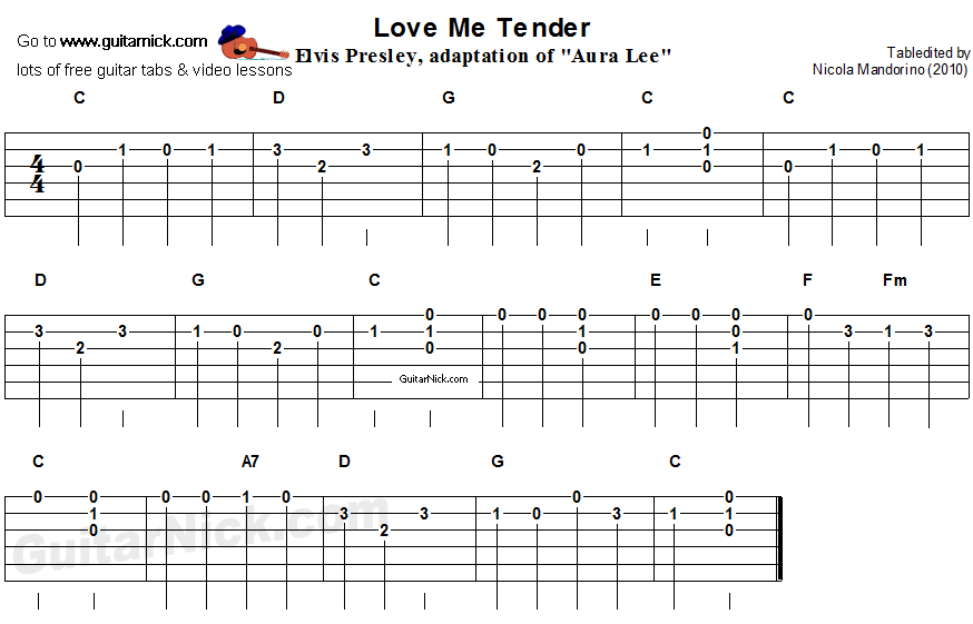 Love Me Tender - easy guitar tablature