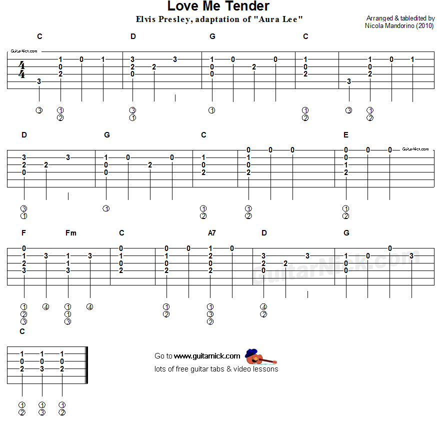 Love Me Tender - flatpicking guitar tablature