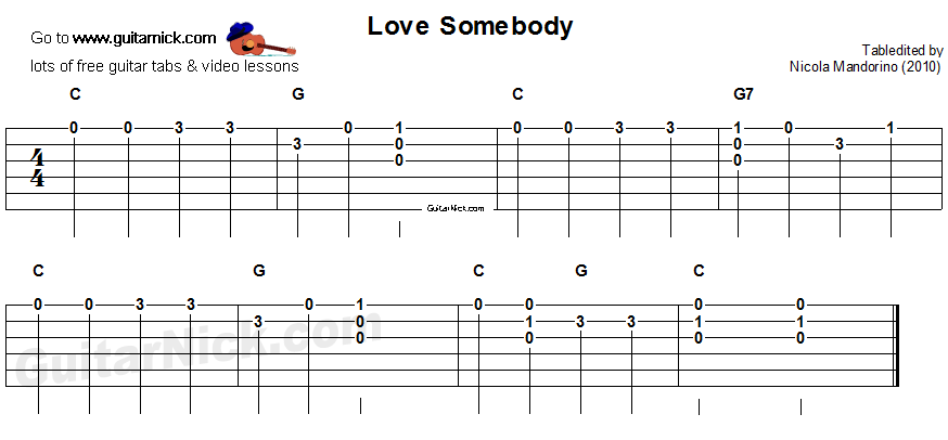 Love Somebody - easy guitar tablature