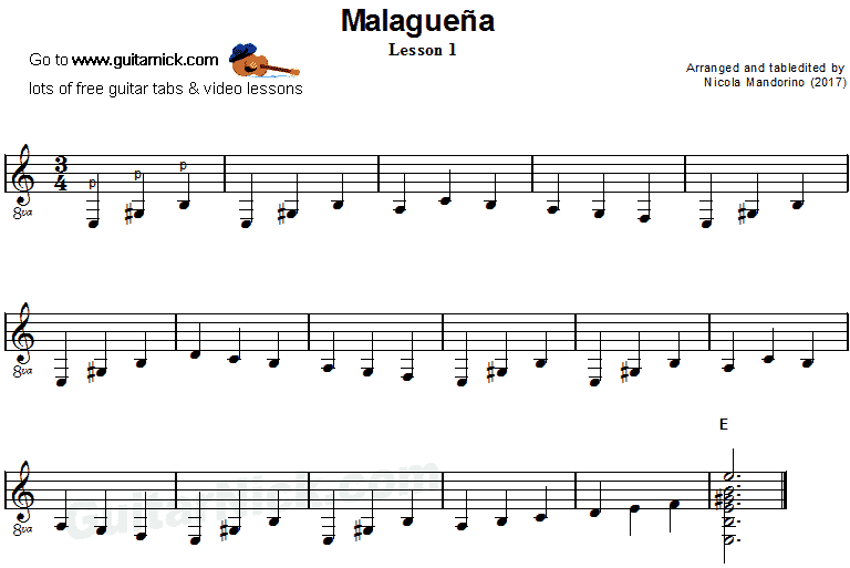 Malaguena: guitar sheet music 1