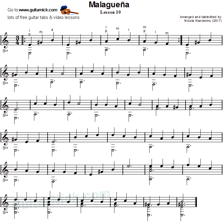 Malaguena: guitar sheet music 10