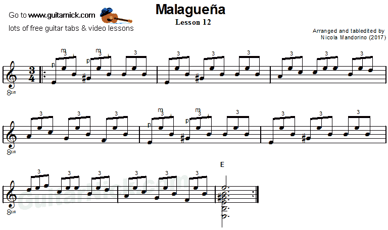 Malaguena: guitar sheet music 12