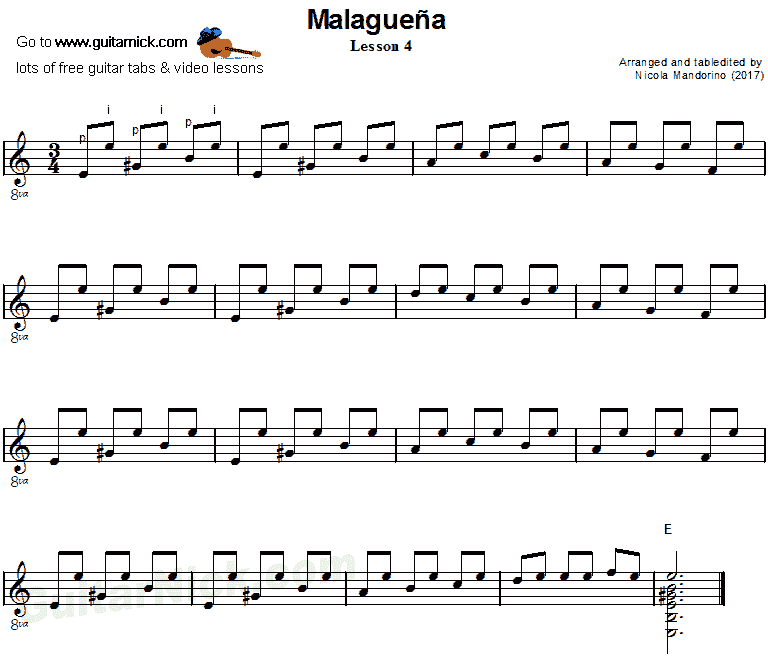 Malaguena: guitar sheet music 4