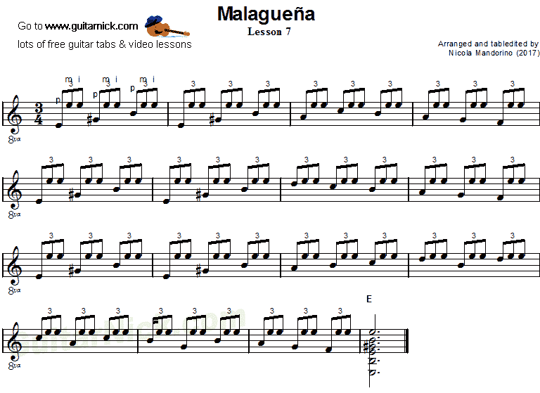Malaguena: guitar sheet music 7