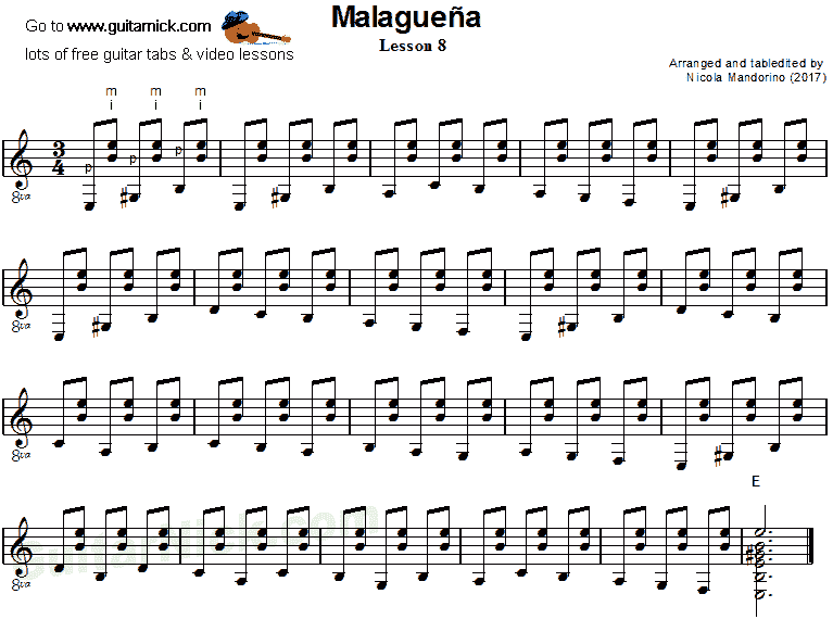 Malaguena: guitar sheet music 8