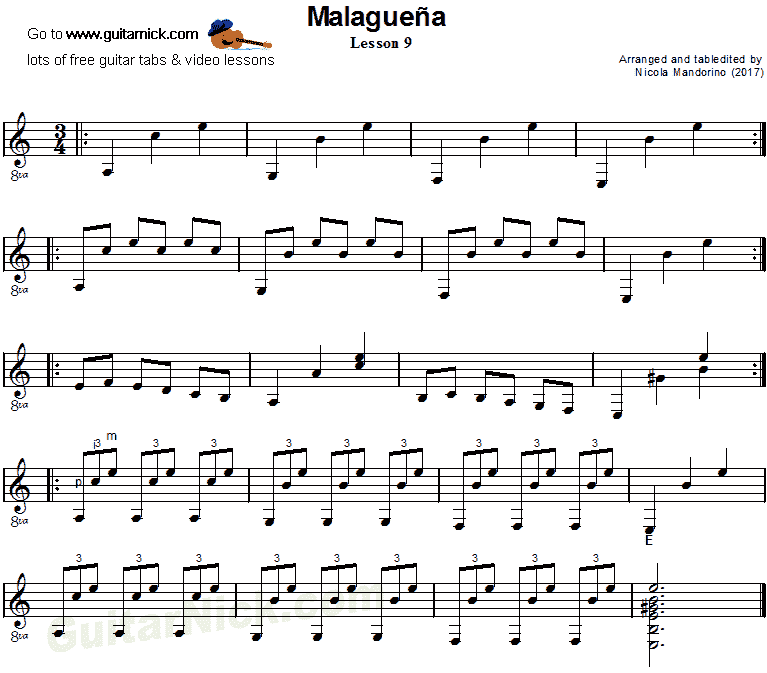 Malaguena: guitar sheet music 9