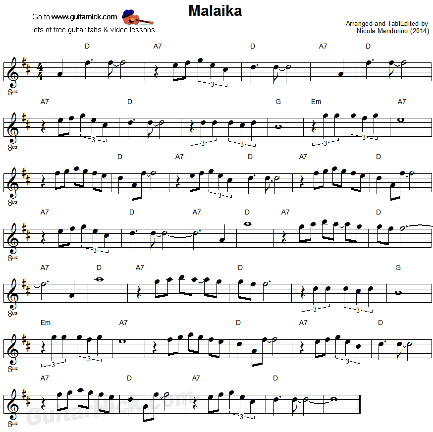 Malaika - easy guitar sheet music
