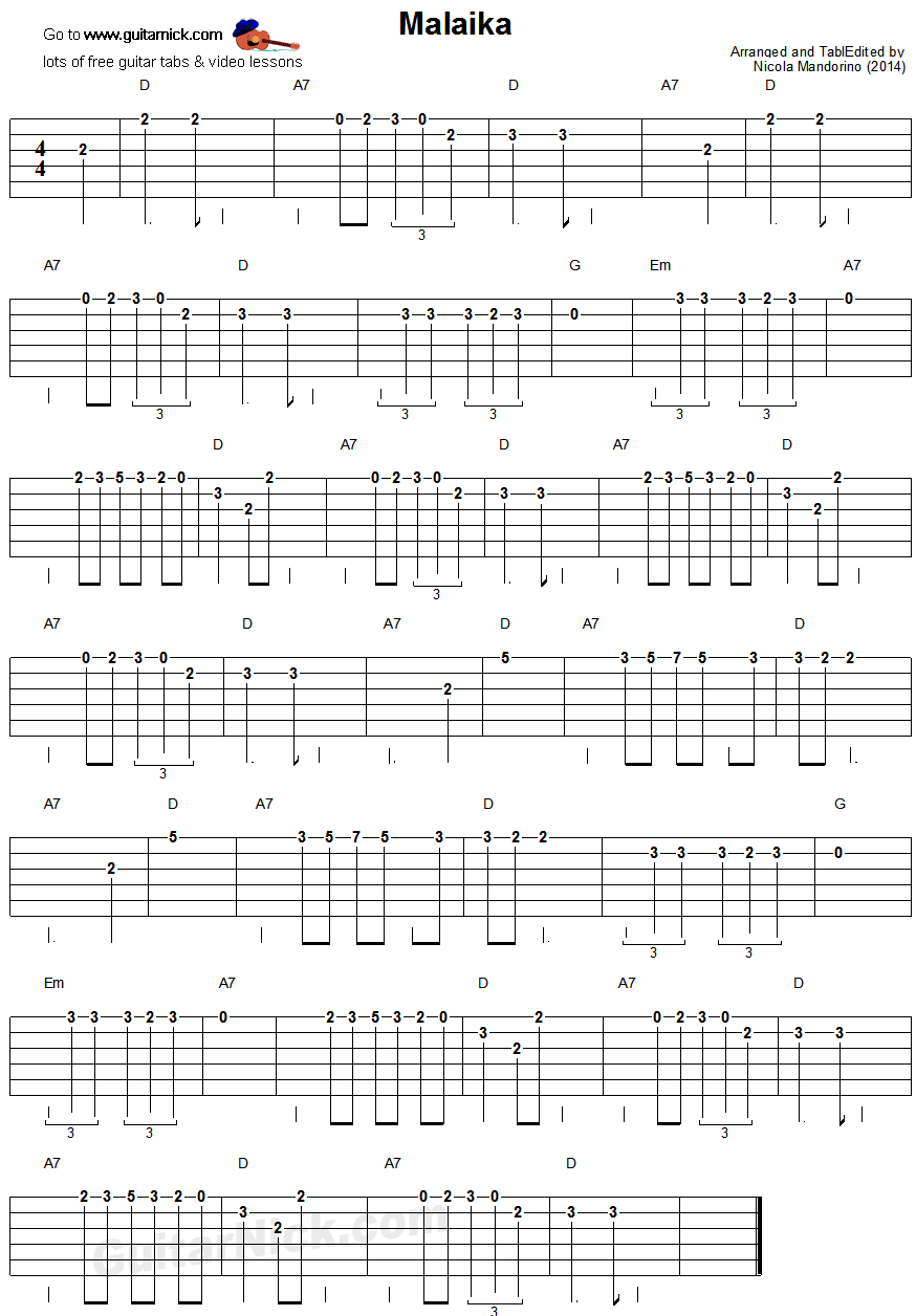 Malaika - easy guitar tablature
