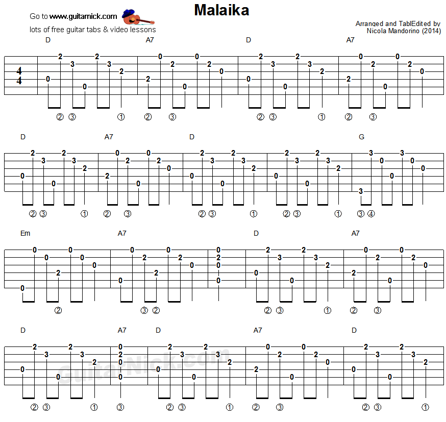 Malaika - guitar chords tablature 1
