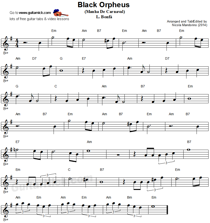 Manha De Carnaval - easy guitar sheet music