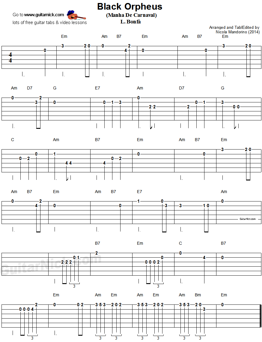 Manha De Carnaval - easy guitar tablature