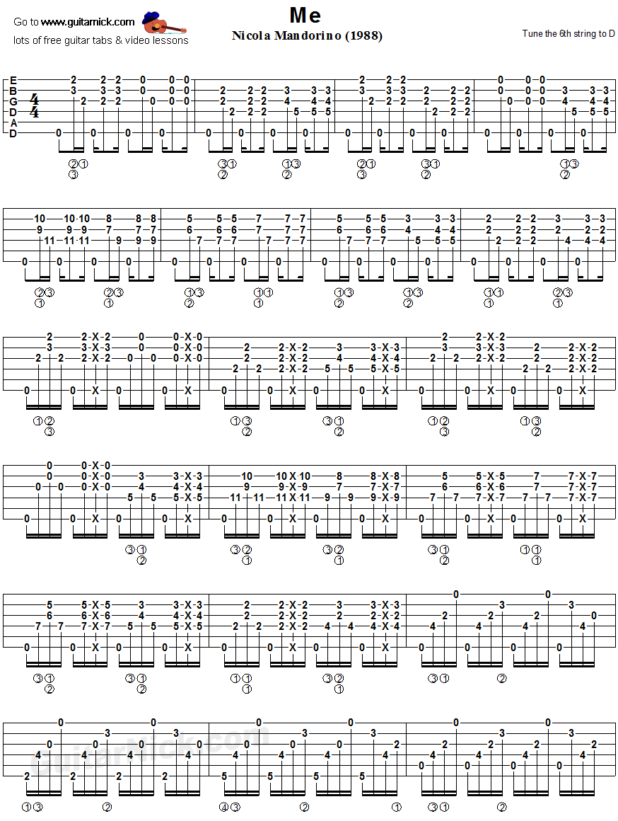 ME - fingerstyle guitar tablature 1