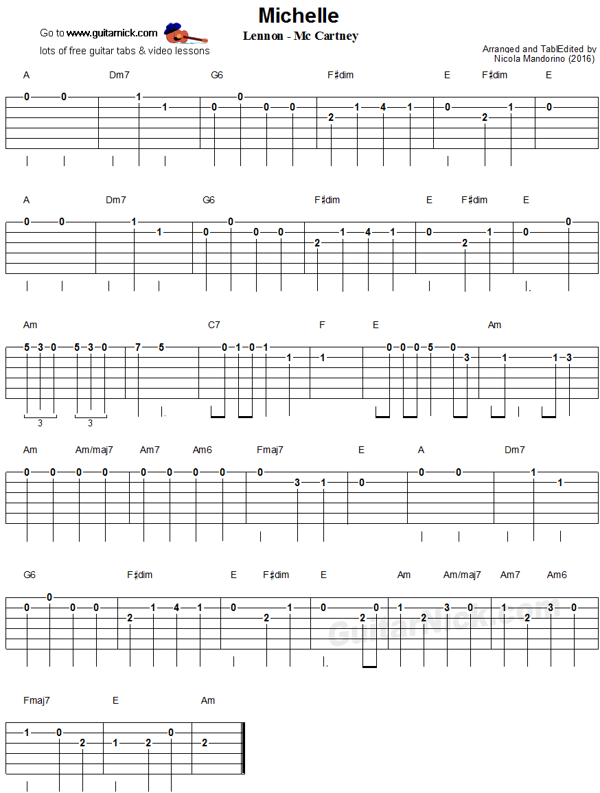 Michelle, Beatles - easy guitar tablature