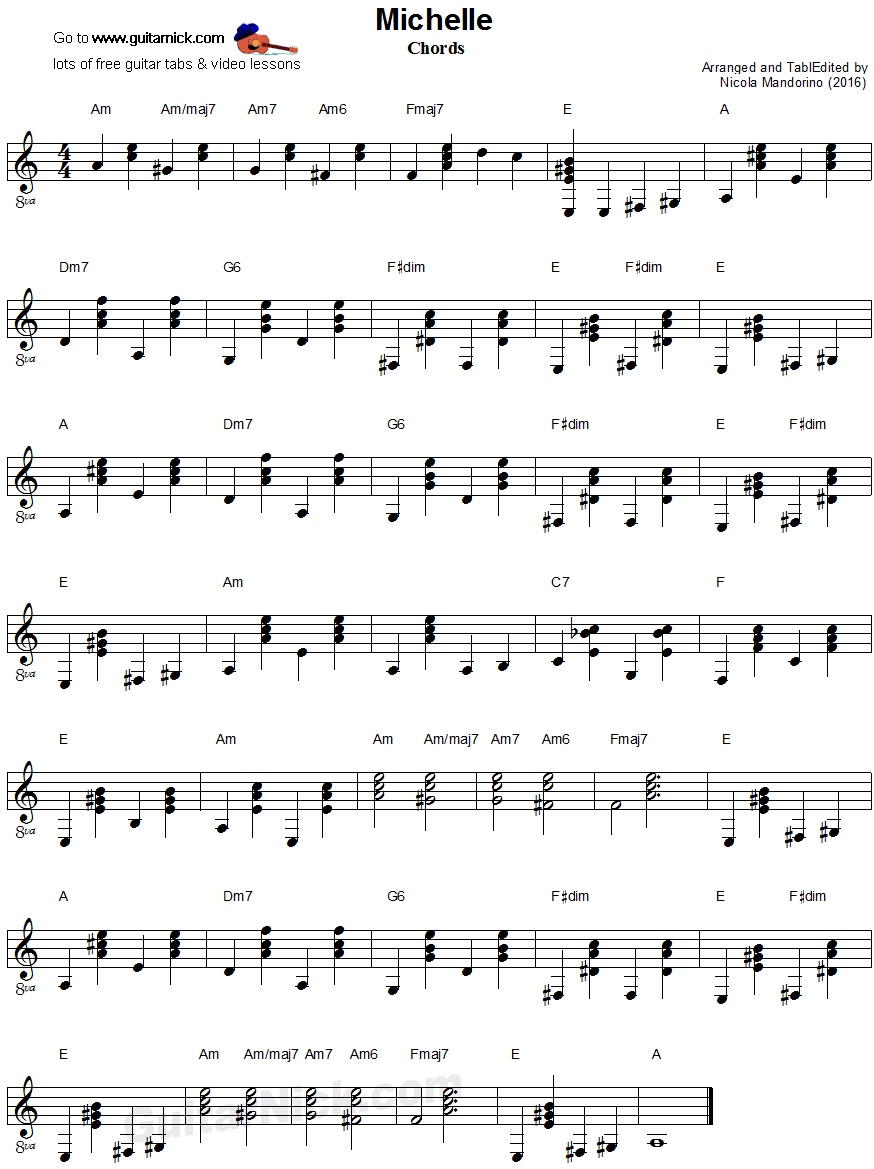 Michelle, Beatles - guitar chords sheet music