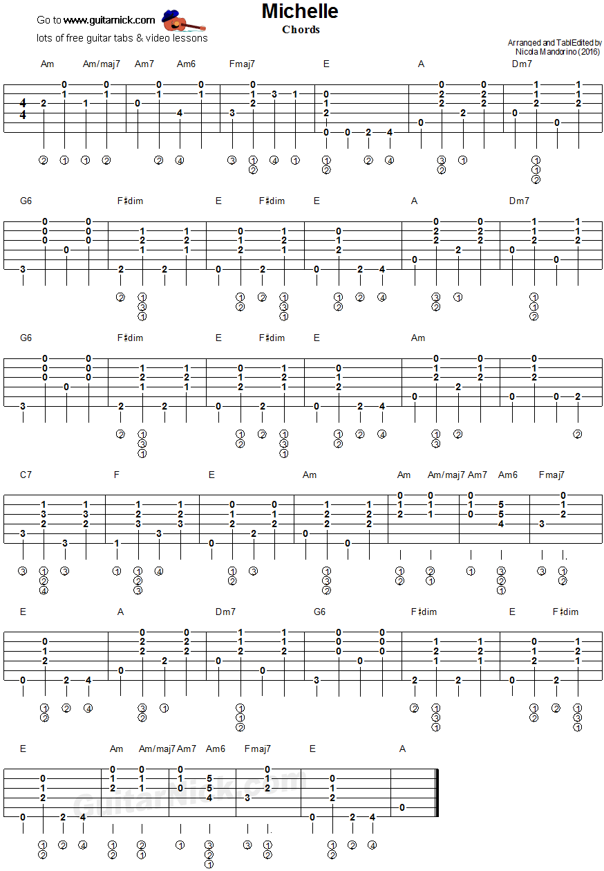 Michelle, Beatles - guitar chords tablature